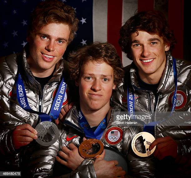 Gus Kenworthy Joss Christensen and Nick Goepper of the USA Skiing team pose with their medals in the Olympic Park during the Sochi 2014 Winter...