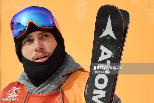 Gus Kenworthy of the United States reacts during the Freestyle Skiing Men's Ski Slopestyle Final on day nine of the PyeongChang 2018 Winter Olympic...