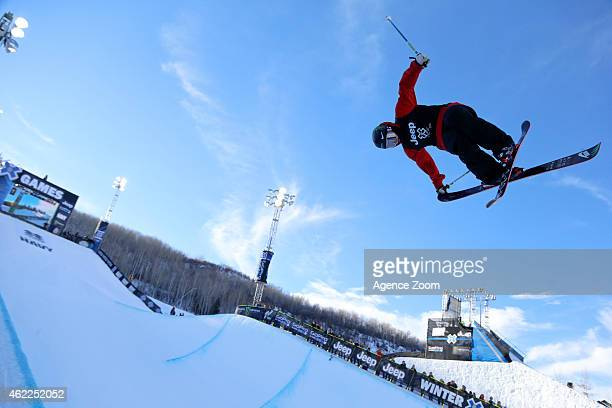 Gus Kenworthy of the USA competes during the Winter X Games Men's Ski Superpipe on January 25 2015 in Aspen USA