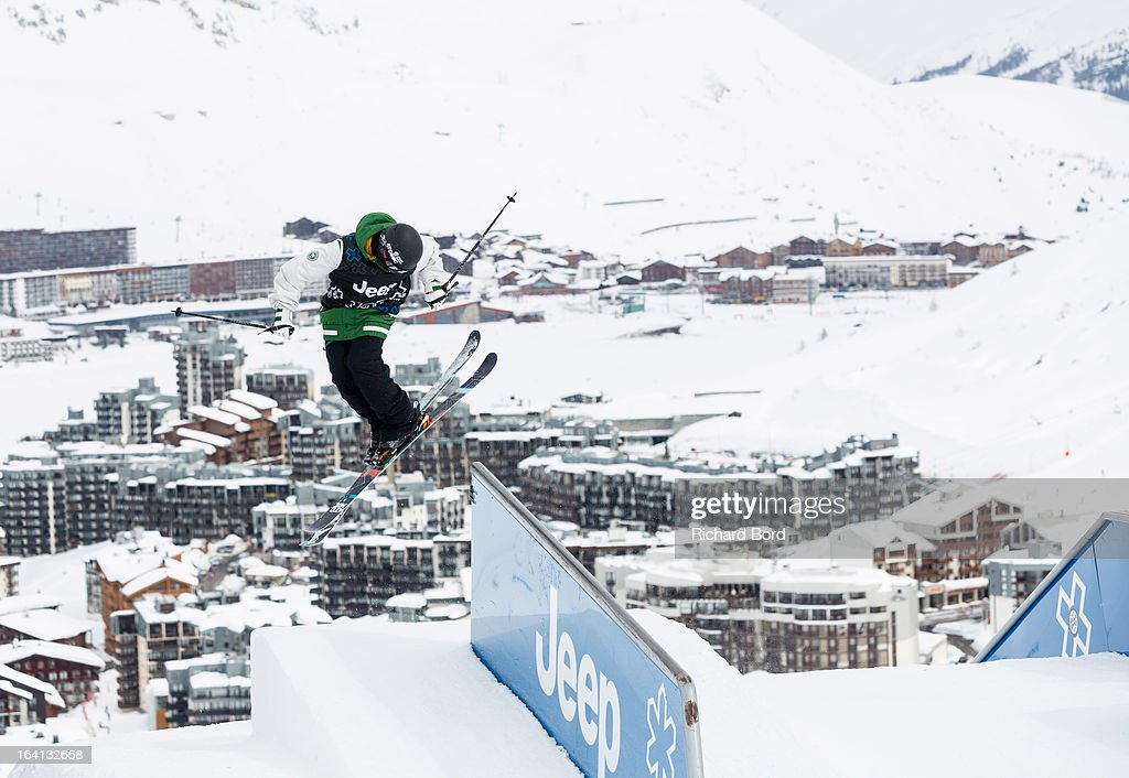Gus Kenworthy of the USA performs as he qualifies third during the Men's Ski Slopestyle Elimination during day three of Winter X Games Europe 2013 on March 20, 2013 in Tignes, France.
