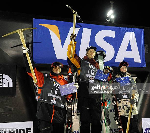 Gus Kenworthy of the USA third place Lyman Currier of the USA first place and Aaron Blunck of the USA second place receive their awards after the...