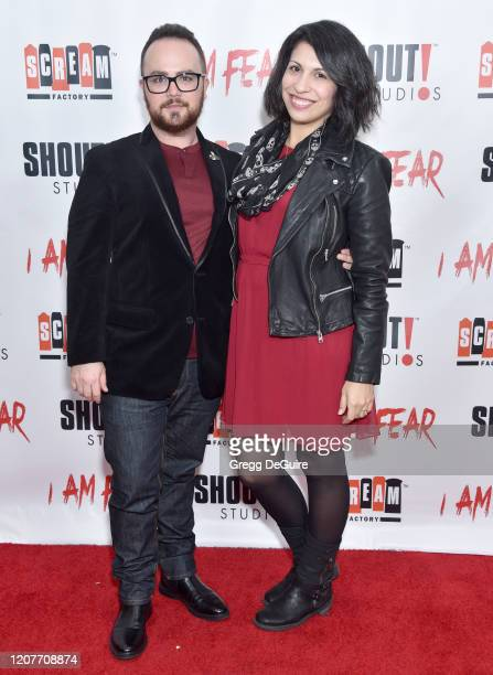 """Gus Krieger and Drina Krieger attend the Los Angeles Premiere of Roxwell Films """"I Am Fear"""" at Laemmle Monica Film Center on February 20 2020 in Santa..."""