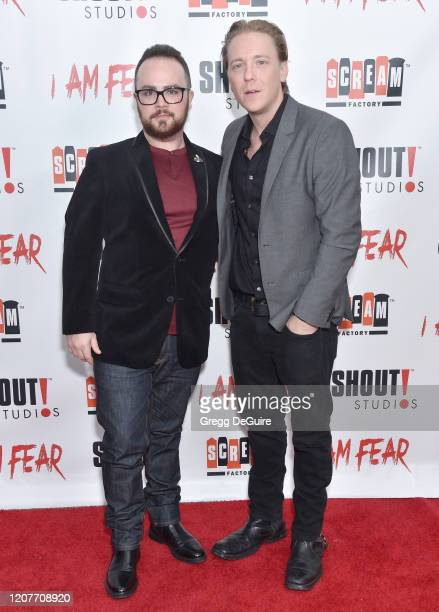 """Gus Krieger and Kevin Shulman attend the Los Angeles Premiere of Roxwell Films """"I Am Fear"""" at Laemmle Monica Film Center on February 20 2020 in Santa..."""