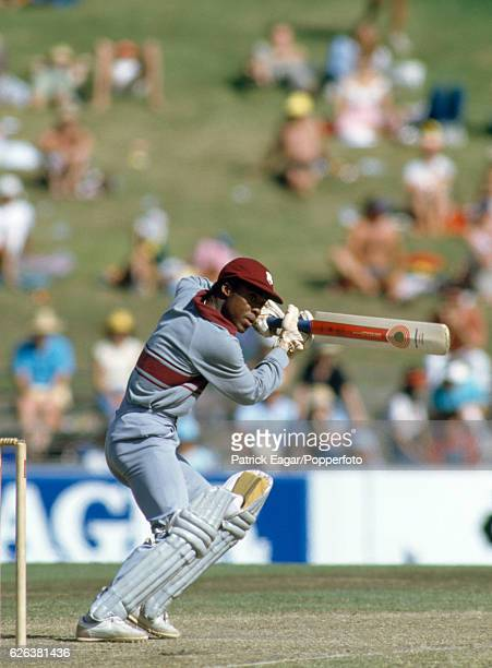 Gus Logie batting during the Benson and Hedges World Championship of Cricket Plate Final between New Zealand and West Indies at the SCG, Sydney,...