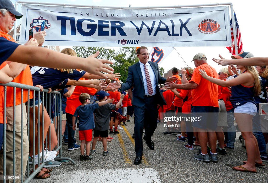 Gus Malzahn coach of the Auburn Tigers greets fans during Tiger Walk before the start of an NCAA college football game against the Georgia Southern Eagles at Jordan Hare Stadium on Saturday, September 2, 2017 in Auburn, Alabama.