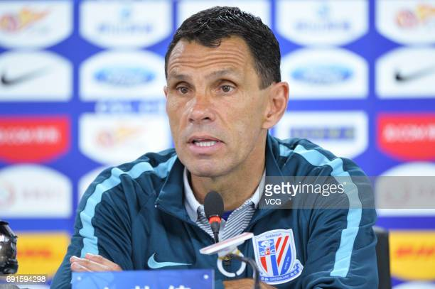 Gus Poyet head coach of Shanghai Shenhua attends a press conference after 2017 Chinese Super League 12th round match between Tianjin Teda and...