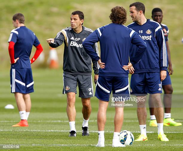 Gus Poyet manager of Sunderland during the preseason training session at Academy of Light on July 11 2014 in Sunderland England