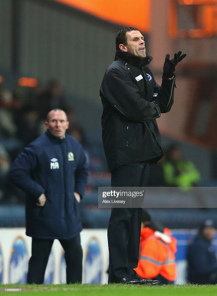 Gus Poyet the manager of Brighton & Hove Albion reacts during the npower Championship match between Blackburn Rovers and Brighton & Hove Albion at Ewood park on January 22, 2013 in Blackburn, England.
