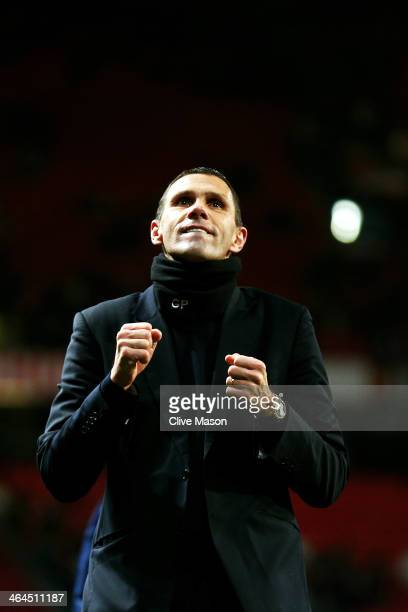Gus Poyet the Sunderland manager celebrates after his team won 2-1 in the penalty shootout during the Capital One Cup semi final, second leg match...