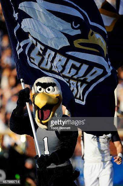 Gus the Eagle mascot for the Georgia Southern Eagles rallies the crowd before the start of the game against the Idaho Vandals on October 11 2014 at...