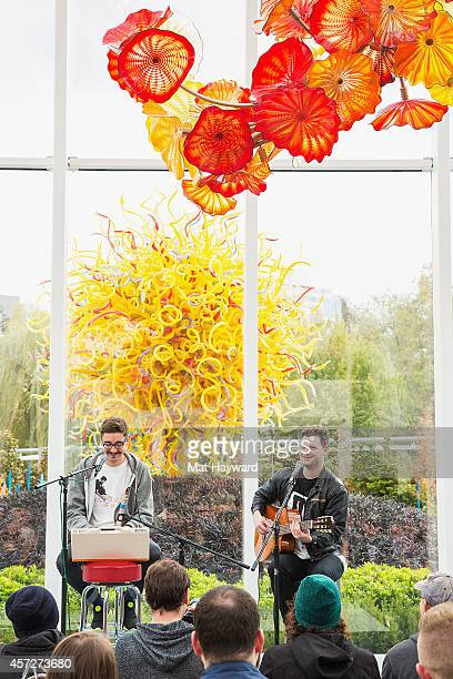 Gus UngerHamilton and Joe Newman of altJ perform during an EndSession hosted by 1077 The End at Chihuly Garden and Glass Museum on October 15 2014 in...