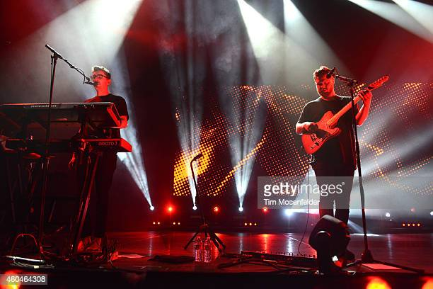 Gus UngerHamilton and Joe Newman of AltJ perform during Live 105's Not So Silent Night at Oracle Arena on December 13 2014 in Oakland California