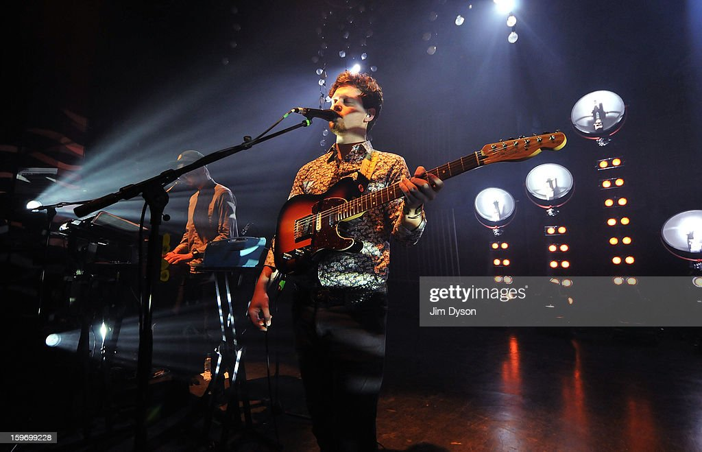 Gus Unger-Hamilton and Joe Newman of Alt-J perform live on stage at Shepherds Bush Empire on January 18, 2013 in London, England.