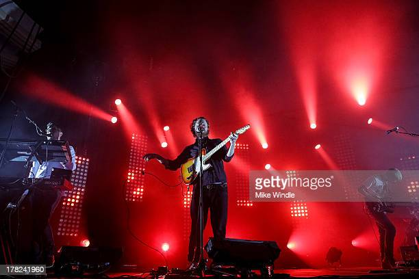 Gus UngerHamilton Joe Newman and Gwil Sainsbury of the band AltJ perform onstage at The Hollywood Palladium on August 27 2013 in Los Angeles...