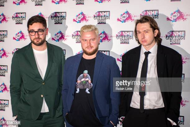 Gus UngerHamilton Joe Newman and Thom Sonny Green of AltJ attend the VO5 NME Awards held at Brixton Academy on February 14 2018 in London England