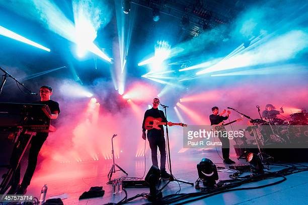 Gus UngerHamilton Joe Newman Cameron Knight and Thom Green of AltJ perform onstage at The Greek Theatre on October 20 2014 in Los Angeles California