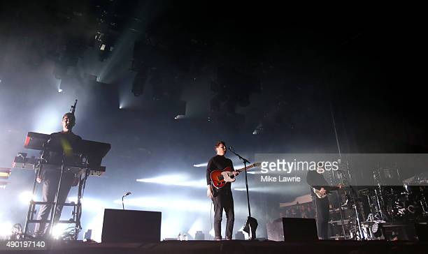 Gus UngerHamilton Joe Newman Cameron Knight and Thom Green of AltJ perform onstage during day two of the Boston Calling Music Festival at Boston City...