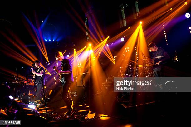 Gus UngerHamilton Joe Newman Gwil Sainsbury and Thom Green of AltJ perform on stage for The Barclaycard Mercury Prize 'Albums of the Year Live' at...