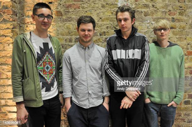 Gus UngerHamilton Joe Newman Thom Green and Gwil Sainsbury of the band AltJ posed backstage during The Station Sessions Festival 2012 at St Pancras...