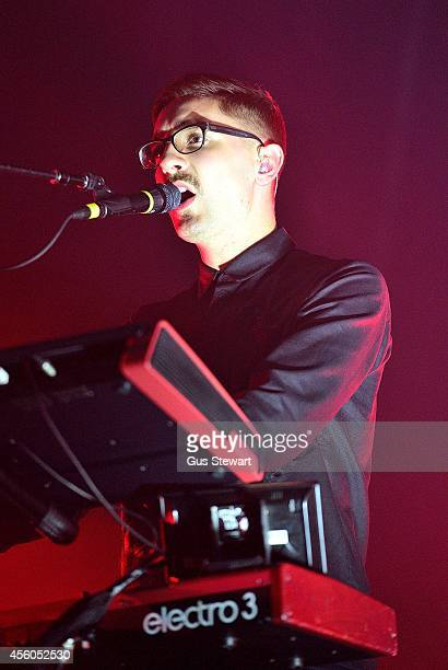 Gus UngerHamilton of altJ performs on stage at Alexandra Palace on September 24 2014 in London England