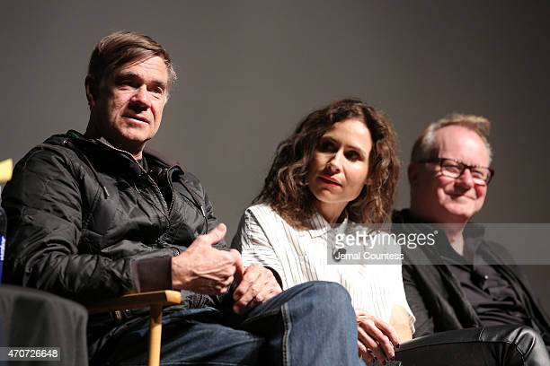 Gus Van Sant Minnie Driver and Stellan Skarsgard speak onstage at the Tribeca Film Institute and Alfred P Sloan Foundation's celebration of the 2015...