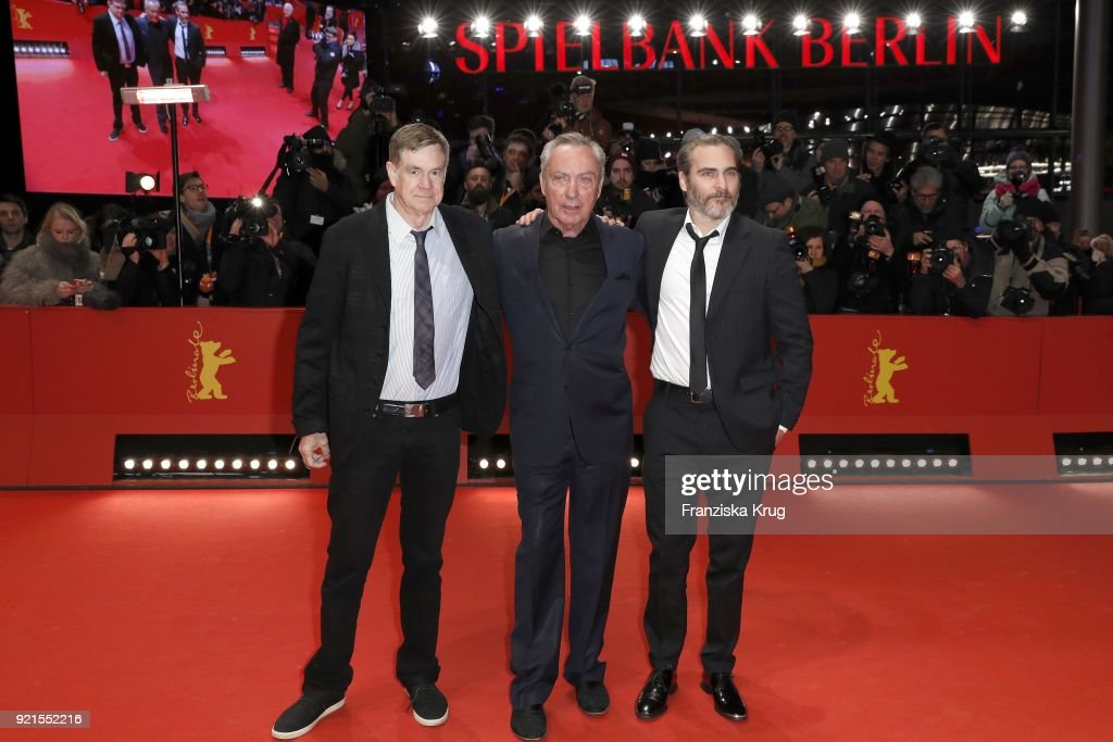 Gus Van Sant, Udo Kier and Joaquin Phoenix attend the 'Don't Worry, He Won't Get Far on Foot' premiere during the 68th Berlinale International Film Festival Berlin at Berlinale Palast on February 20, 2018 in Berlin, Germany.