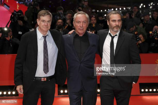 Gus Van Sant Udo Kier and Joaquin Phoenix attend the 'Don't Worry He Won't Get Far on Foot' premiere during the 68th Berlinale International Film...