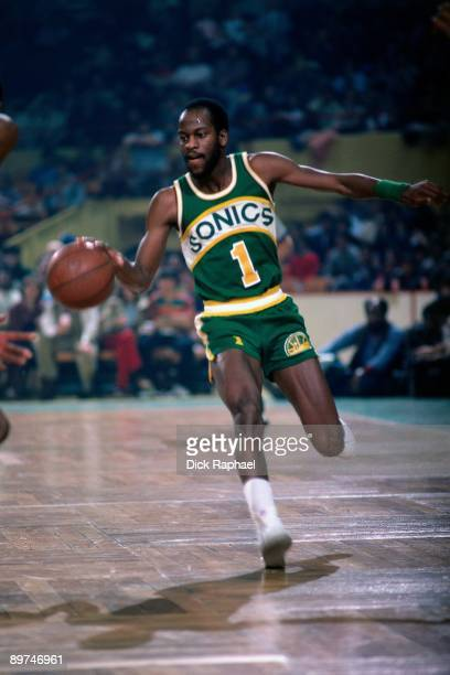 Gus Williams of the Seattle Sonics moves the ball up court against the Boston Celtics during a game played in 1978 at the Boston Garden in Boston...