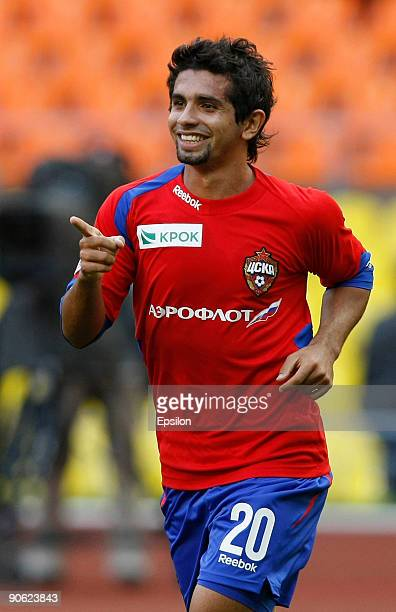 Gusmao Guilherme of FC CSKA Moscow celebrates after scoring a goal during the Russian Football League Championship match between FC CSKA Moscow and...