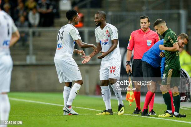 Gussouma Fofana replaces Bongani Zungu of Amiens during Ligue 1 match between Amiens and Reims on August 25 2018 in Amiens France