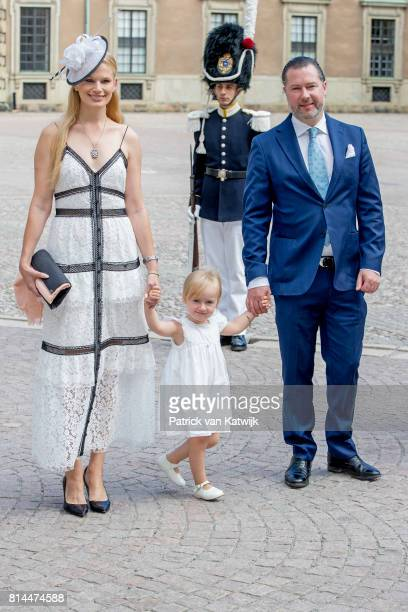 Gustaf Magnuson Vicky Magnuson and daughter Desiree Magnuson arrive for a thanksgiving service on the occasion of The Crown Princess Victoria of...