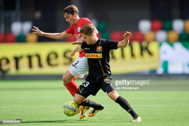 Gustaf Nilsson of Silkeborg IF and Mathias Jensen of FC Nordsjalland compete for the ball during the Danish Alka Superliga match between Silkeborg IF...