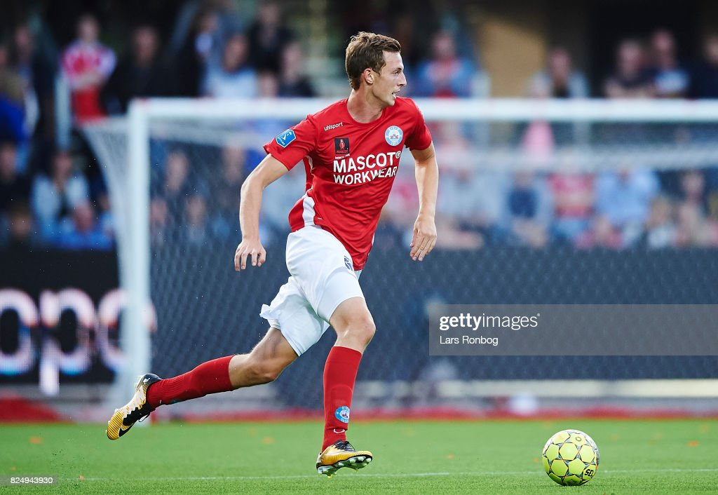Gustaf Nilsson of Silkeborg IF controls the ball during the Danish Alka Superliga match between Silkeborg IF and AGF Aarhus at Jysk Park on July 31, 2017 in Silkeborg, Denmark.