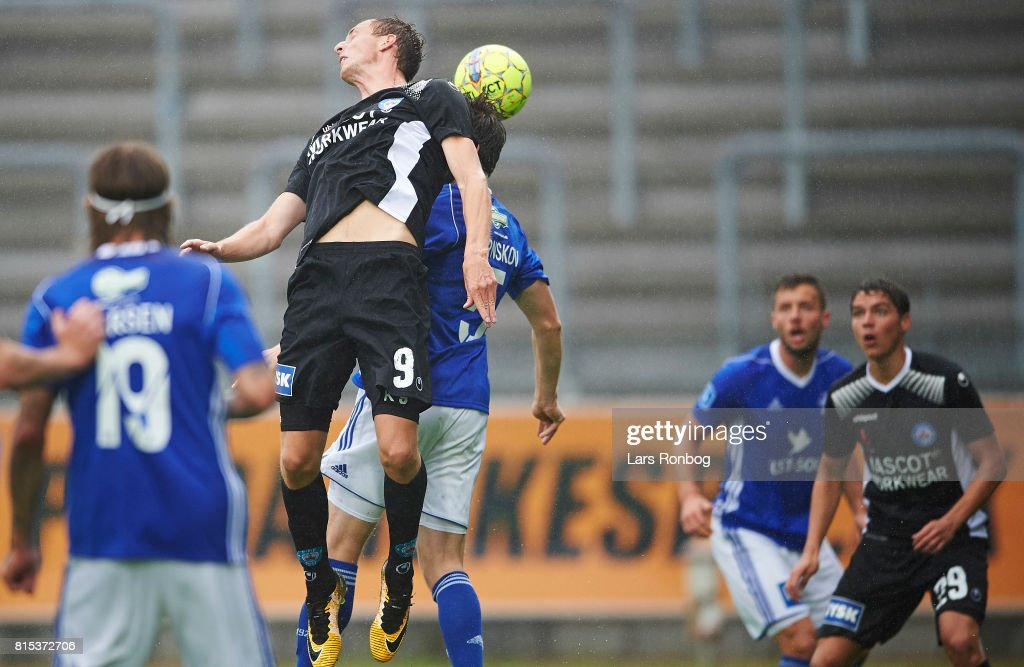 Gustaf Nilsson of Silkeborg IF in action during the Danish Alka Superliga match between Lyngby BK and Silkeborg IF at Lyngby Stadion on July 16, 2017 in Lyngby, Denmark.