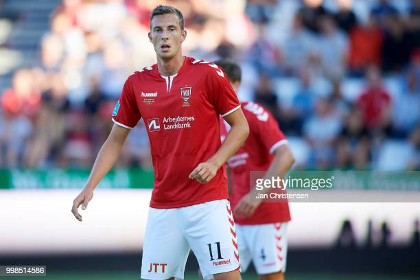 Gustaf Nilsson of Vejle Boldklub looks on during the Danish Superliga match between Vejle Boldklub and Hobro IK at Vejle Stadion on July 13 2018 in...