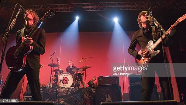 Gustaf Noren drummer Samuel Giers and Bjoern Dixgard of the Swedish rock band Mando Diao perform at the Columbiahalle November 20 2006 in Berlin...