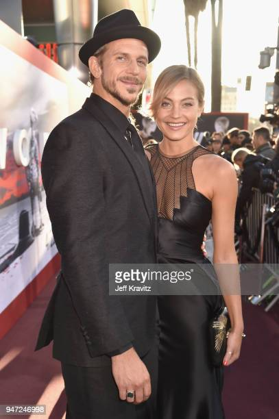 Gustaf Skarsgard and Caroline Sjostrand attend the Los Angeles Season 2 premiere of the HBO Drama Series WESTWORLD at The Cinerama Dome on April 16...