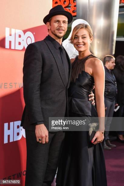 Gustaf Skarsgard and Caroline Sjostrand attend Westworld Season 2 Los Angeles Premiere on April 16 2018 in Los Angeles California