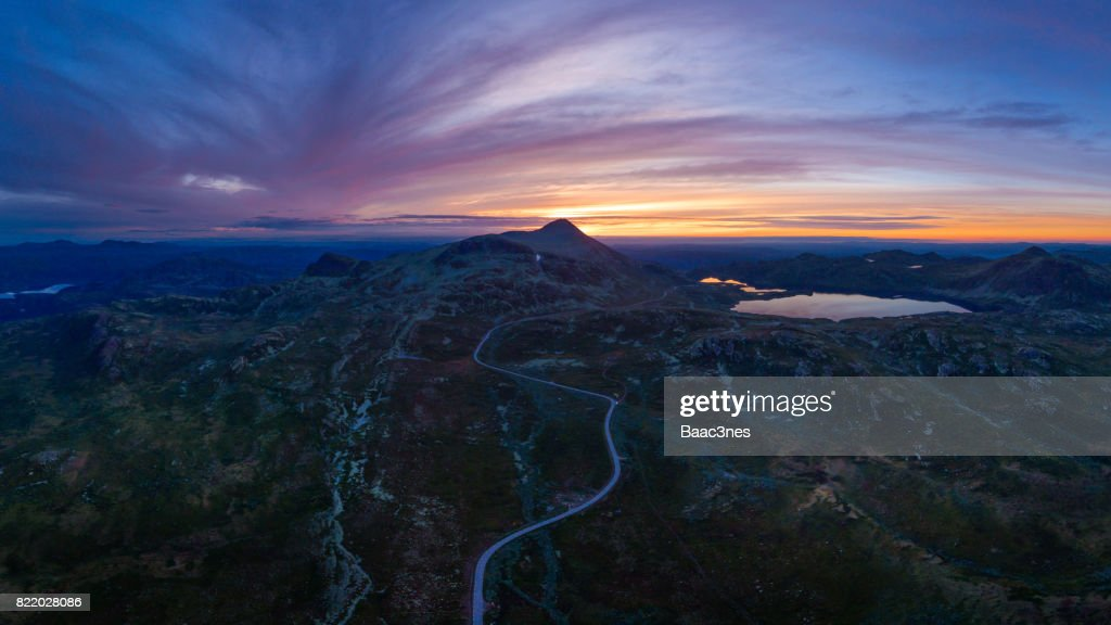 Gustatoppen seen from the air - Famous Norwegian mountain : Stock Photo