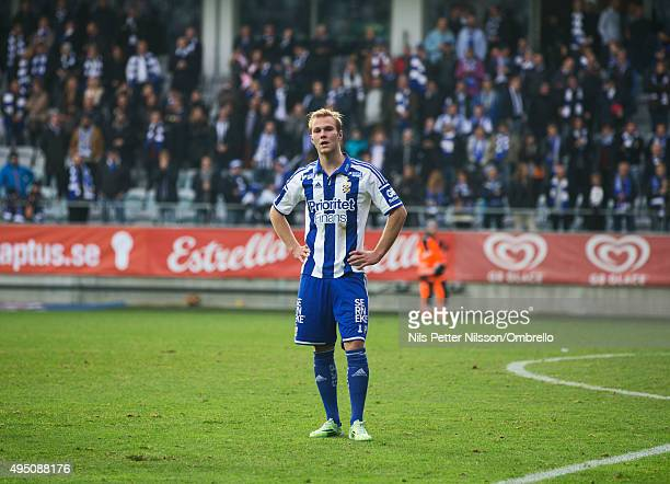 Gustav Engvall after the match between IFK Goteborg and Kalmar FF at Gamla Ullevi on October 31 2015 in Gothenburg Sweden