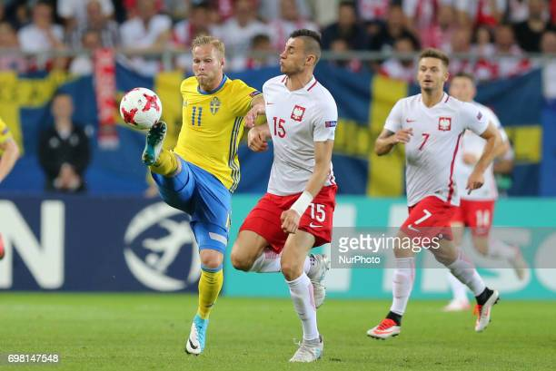 Gustav Engvall Jaroslaw Jach during the UEFA U21 match between Poland and Sweden at Arena Lublin on June 19 2017 in Lublin Poland