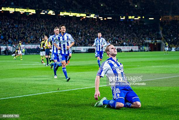 SOLNA SWEDEN OCTOBER Gustav Engvall of Goteborg celebrates his first goal during the Allsvenskan match between AIK and IFK Goteborg at Friends arena...