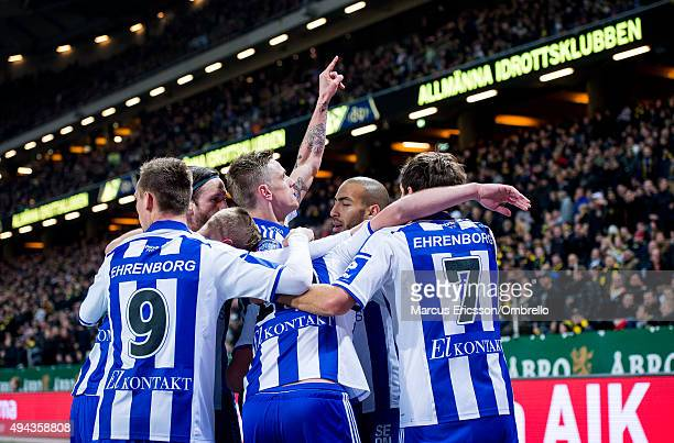Gustav Engvall of Goteborg celebrates his first goal during the Allsvenskan match between AIK and IFK Goteborg at Friends arena on October 26, 2015...