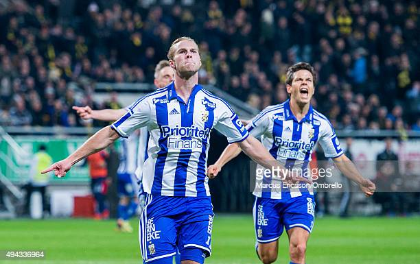 Gustav Engvall of Goteborg celebrates the second goal during the Allsvenskan match between AIK and IFK Goteborg at Friends arena on October 26 2015...