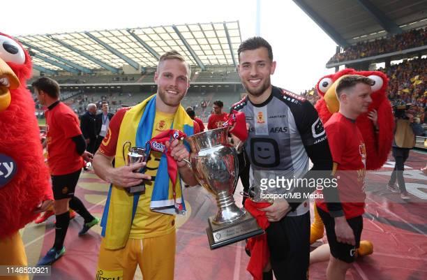 Gustav Engvall of Mechelen and Michael Verrips of Mechelen celebrate after winning the Croky Cup Final match between Kaa Gent and Kv Mechelen at King...
