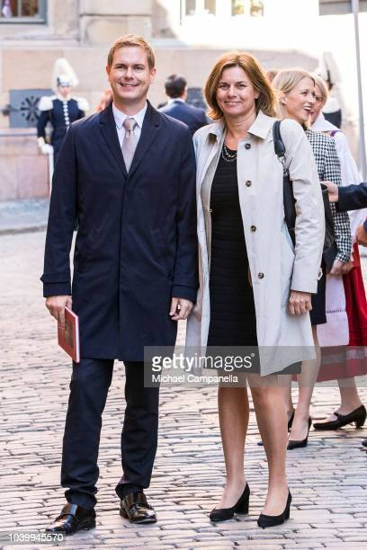 Gustav Fridolin and Isabella Lovin, leaders of the Green Party, attend a church service at the Stockholm Cathedral in connection with the opening of...