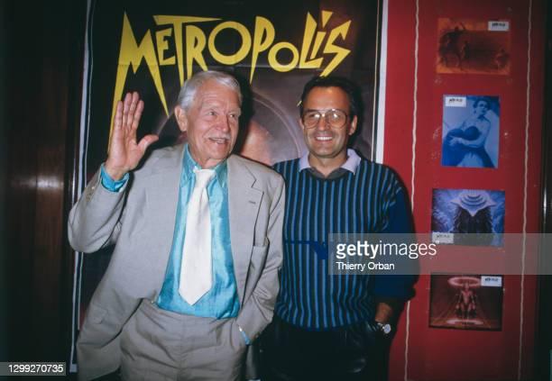 Gustav Frohlich et Giorgio Moroder à la première de Metropolis de Fritz Lang en aout 1984 à Paris, France.
