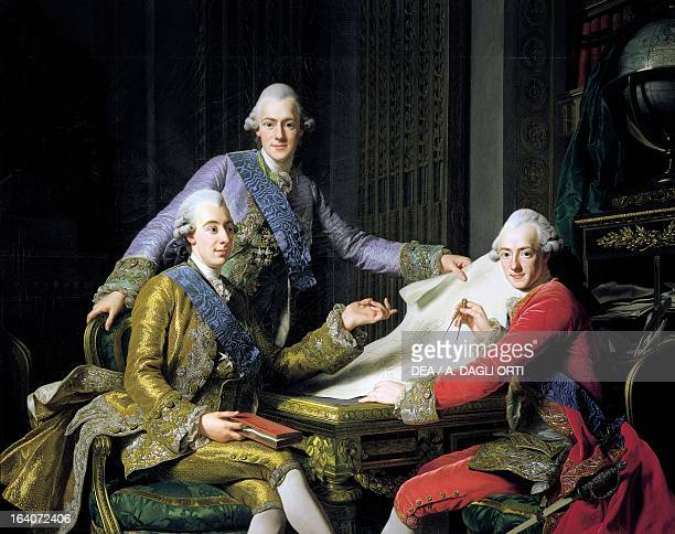 Gustav III of Sweden King of Sweden with his brothers Frederick Adolf of Sweden Swedish Prince and Duke of Ostergoland and Charles XIII of Sweden...