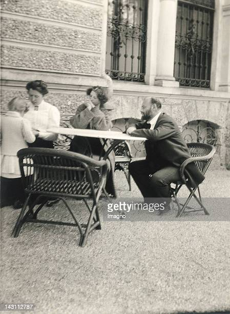 Gustav Klimt and Emilie Floege at the terrace of Villa Paulick Seewalchen am Attersee Austria Photograph around 1910