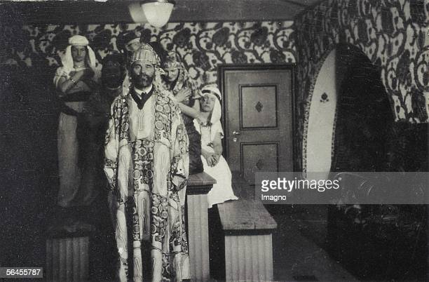 Gustav Klimt as an attendand of an party in the Primavesihouse with a housecoat designed by Carl Otto Czeschka Name of the pattern 'Waldidyll'...